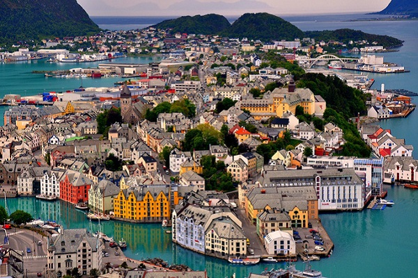 vidaedu estagio Norway Alesund Birdseye of City