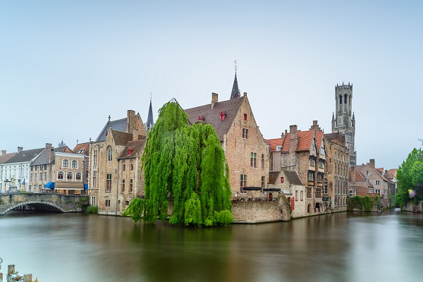 Bruges, Rozenhoedkaai water canal view. Unesco site. Long exposure. Belgium, Europe.
