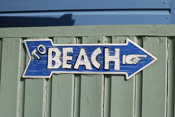 To Beach sign at Ferring. West Sussex. England
