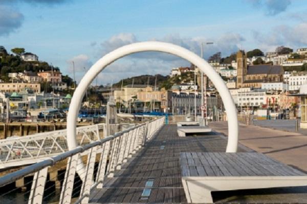 Quayside walkway, Torquay Harbour, Devon, England
